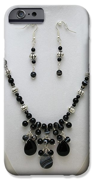 Handmade Jewelry Jewelry iPhone Cases - 3601 Black Banded Onyx Necklace and Earrings iPhone Case by Teresa Mucha