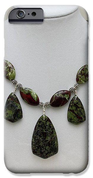 Fantasy Jewelry iPhone Cases - 3602 Dragons Blood Jasper Necklace iPhone Case by Teresa Mucha