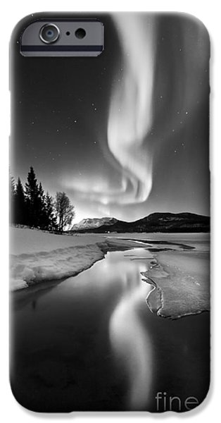 Northern Lights iPhone Cases - Aurora Borealis Over Sandvannet Lake iPhone Case by Arild Heitmann