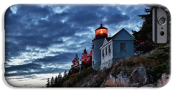 New England Lighthouse iPhone Cases - Bass Harbor Lighthouse iPhone Case by John Greim