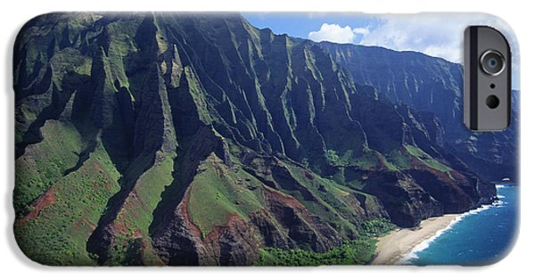 Printscapes - iPhone Cases - Na Pali Coast Aerial iPhone Case by Bob Abraham - Printscapes