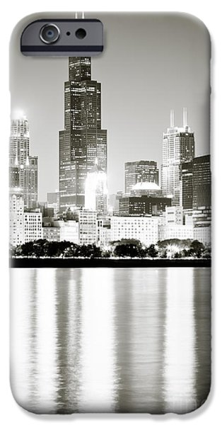 Cities Photographs iPhone Cases - Chicago Skyline at Night iPhone Case by Paul Velgos