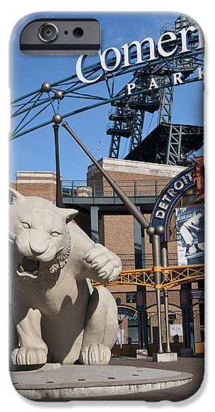 Detroit Tigers Baseball Art iPhone Cases - Comerica Park iPhone Case by Cindy Lindow