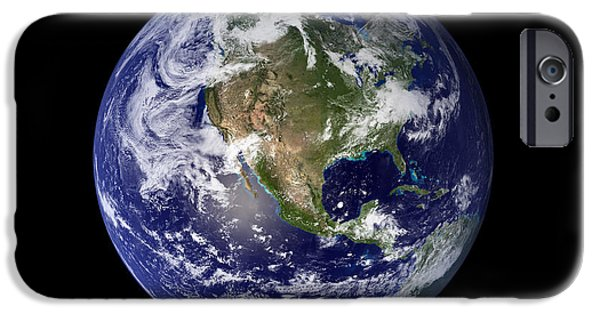 Terrestrial Sphere iPhone Cases - Full Earth Showing North America iPhone Case by Stocktrek Images