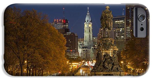 Downtown Franklin iPhone Cases - Philadelphia Skyline iPhone Case by John Greim
