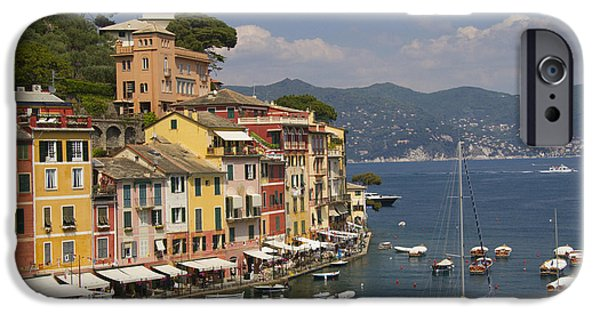 Cruise iPhone Cases - Portofino in the Italian Riviera in Liguria Italy iPhone Case by David Smith