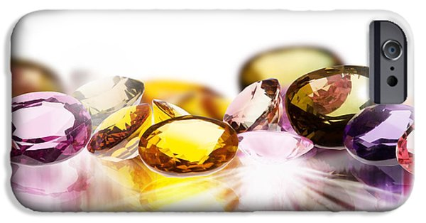 Stones Jewelry iPhone Cases - Colorful Gems iPhone Case by Setsiri Silapasuwanchai