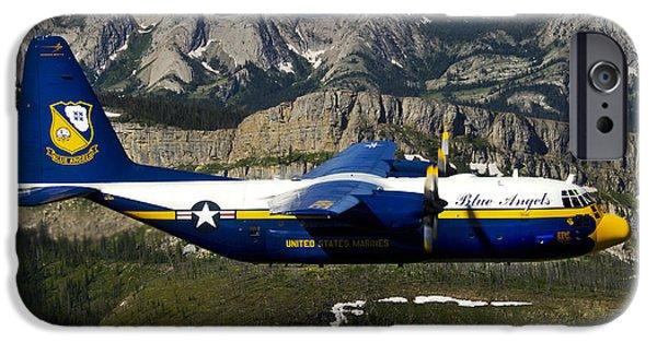 Angel Blues iPhone Cases - A C-130 Hercules Fat Albert Plane Flies iPhone Case by Stocktrek Images