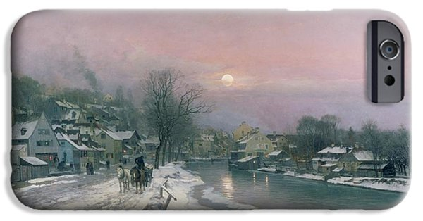 Rural Snow Scenes iPhone Cases - A Canal Scene in Winter  iPhone Case by Anders Anderson Lundby