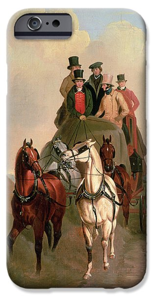 Road Travel iPhone Cases - A Coach and Four on an Open Road  iPhone Case by William Snr Shayer