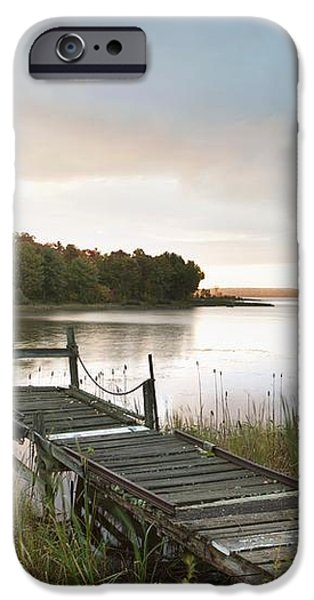 A Dock On A Lake At Sunrise Near Wawa iPhone Case by Susan Dykstra