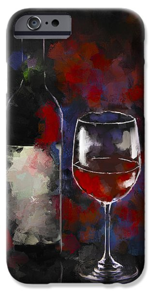 Wine Bottles iPhone Cases - A Glass of Red iPhone Case by Peggy Kahan