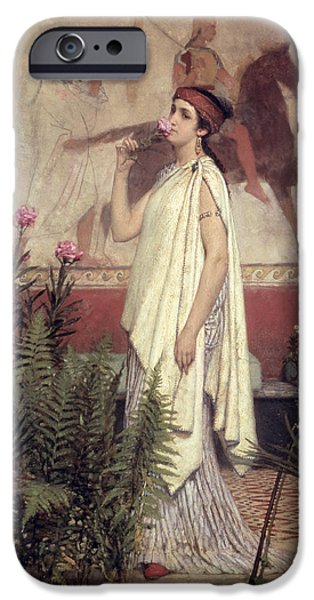 Greek Art iPhone Cases - A Greek Woman iPhone Case by Sir Lawrence Alma-Tadema
