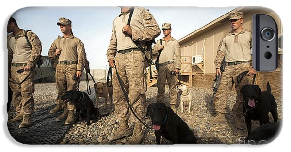 Working Dog iPhone Cases - A Group Of Dog-handlers Conduct iPhone Case by Stocktrek Images