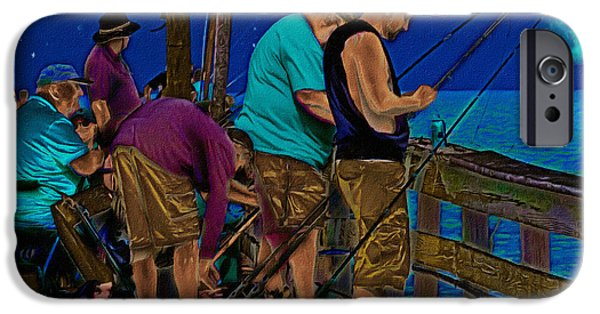 Night Lamp Drawings iPhone Cases - A Little Night Fishing at the Rodanthe Pier 2 iPhone Case by Anne Kitzman