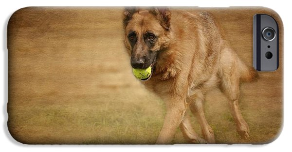Dog And Tennis Ball iPhone Cases - A Little Playtime - German Shepherd Dog iPhone Case by Angie Tirado