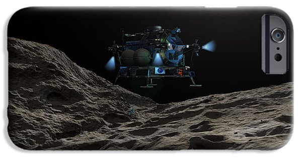 Constellations iPhone Cases - A Manned Asteroid Lander Approaches iPhone Case by Walter Myers