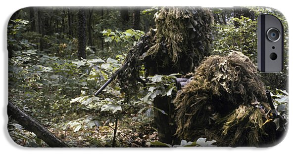 Adults Only iPhone Cases - A Marine Sniper Team Wearing Camouflage iPhone Case by Stocktrek Images
