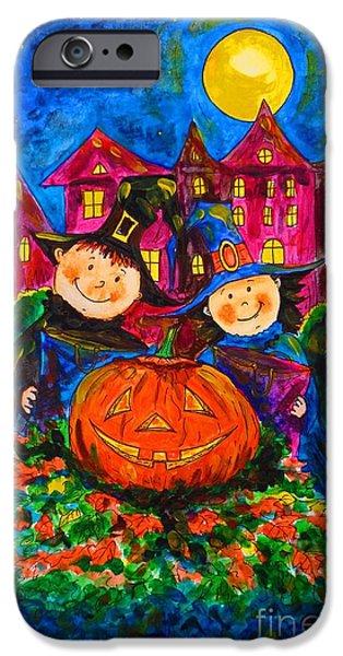 Haunted House Paintings iPhone Cases - A Merry Halloween iPhone Case by Zaira Dzhaubaeva
