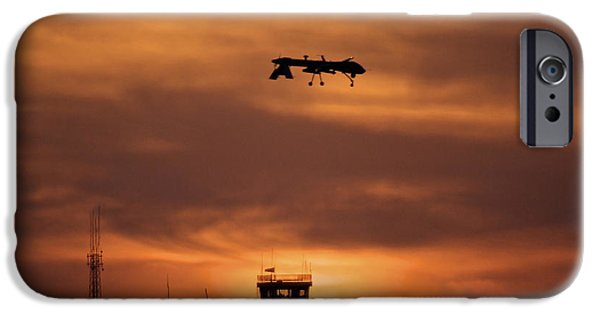 Iraq iPhone Cases - A Mq-1 Predator Over Cob Speicher iPhone Case by Terry Moore