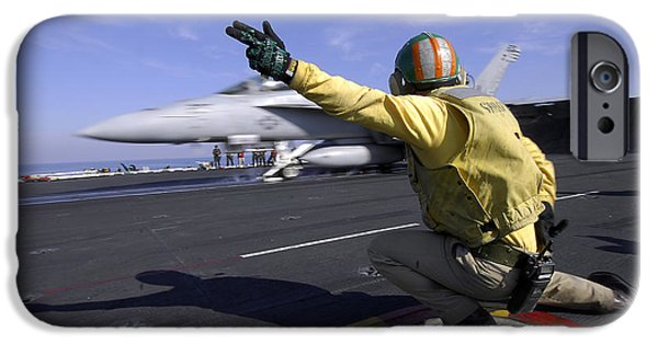F-18 iPhone Cases - A Shooter Signals The Launch Of An iPhone Case by Stocktrek Images