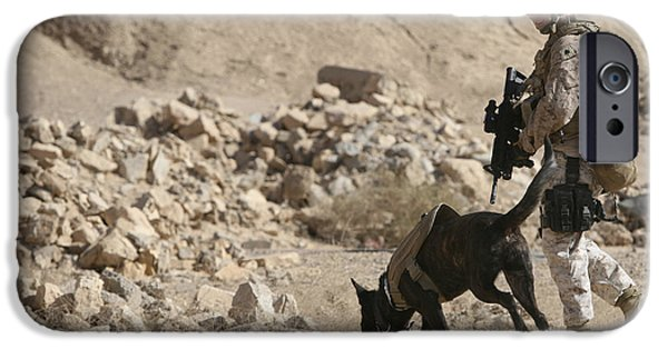Iraq iPhone Cases - A Soldier And His Dog Search An Area iPhone Case by Stocktrek Images