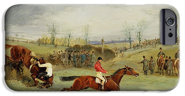 Horse Race iPhone Cases - A Steeplechase - Another Hedge iPhone Case by Henry Thomas Alken