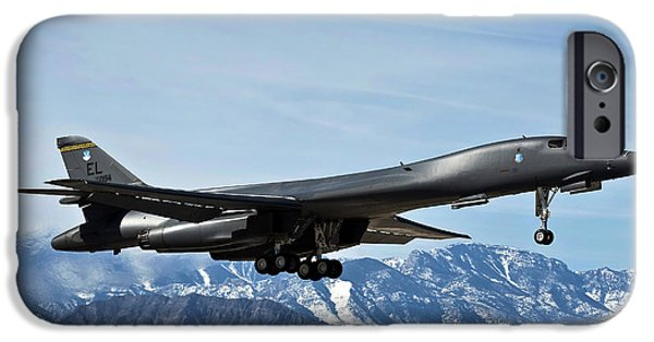 Lancer iPhone Cases - A U.s. Air Force B-1b Lancer Departs iPhone Case by Stocktrek Images