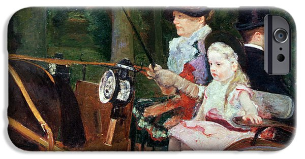 Nineteenth iPhone Cases - A woman and child in the driving seat iPhone Case by Mary Stevenson Cassatt