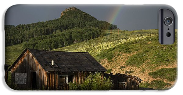 Dave iPhone Cases - Abandoned cabin and rainbow 2 iPhone Case by Dave Dilli