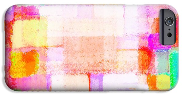 Colorful Abstract Pastels iPhone Cases - Abstract Geometric Colorful Pattern iPhone Case by Setsiri Silapasuwanchai