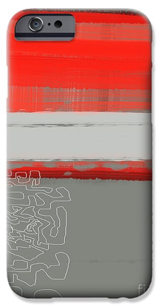 Abstract Lines iPhone Cases - Abstract Red 1 iPhone Case by Naxart Studio
