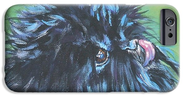Black Dog iPhone Cases - Affenpinscher with butterfly iPhone Case by L A Shepard