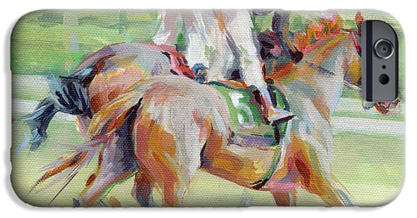 Race Horse Paintings iPhone Cases - After the Finish iPhone Case by Kimberly Santini