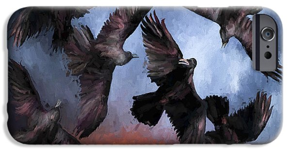 Dark Skies Paintings iPhone Cases - Airborne Unkindness iPhone Case by David Wagner