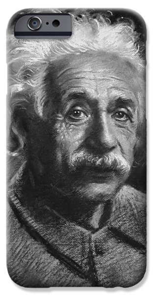 Einstein Drawings iPhone Cases - Albert Einstein iPhone Case by Ylli Haruni