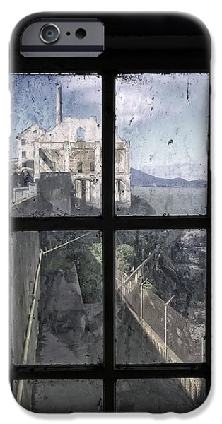 Escape iPhone Cases - ALCATRAZ ESCAPE BEACH from GUARD HOUSE iPhone Case by Daniel Hagerman
