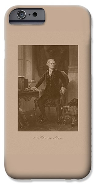 Statesmen iPhone Cases - Alexander Hamilton Sitting At His Desk iPhone Case by War Is Hell Store