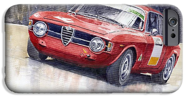Watercolor Paintings iPhone Cases - Alfa Romeo Giulie Sprint GT 1966 iPhone Case by Yuriy  Shevchuk