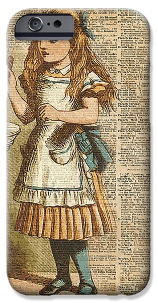 Retro iPhone 6 Case - Alice In Wonderland Drink Me Vintage Dictionary Art Illustration by Anna W