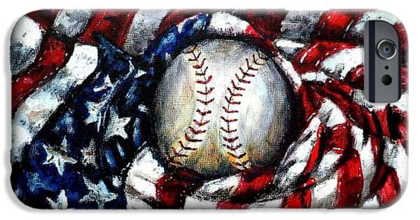 Old Glory Paintings iPhone Cases - All American iPhone Case by Shana Rowe