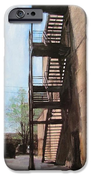 Alley Mixed Media iPhone Cases - Alley w fire escape iPhone Case by Anita Burgermeister