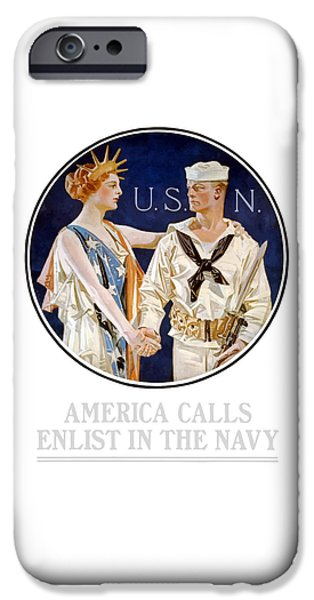 Us Navy iPhone Cases - America Calls Enlist In The Navy iPhone Case by War Is Hell Store