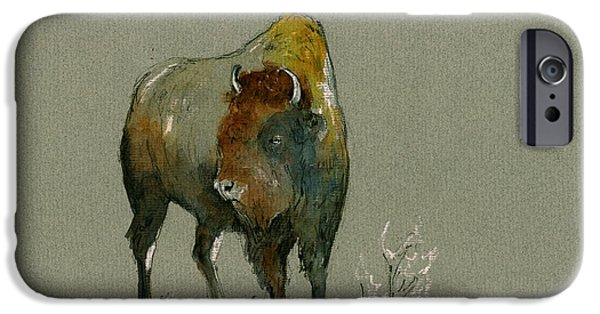 American Bison iPhone Cases - American buffalo iPhone Case by Juan  Bosco