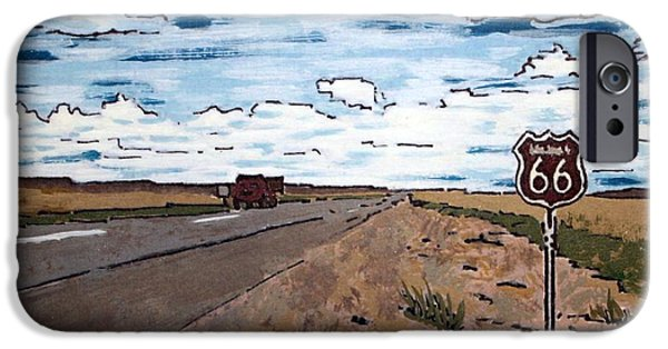 Asphalt Paintings iPhone Cases - Americana No.1 Route 66 No. 6 iPhone Case by Sheri Parris