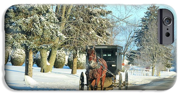 Horse And Buggy iPhone Cases - Amish Winter iPhone Case by David Arment