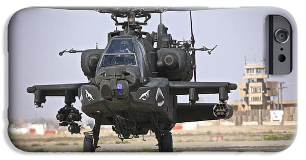 Iraq iPhone Cases - An Ah-64 Apache Helicopter Returns iPhone Case by Terry Moore