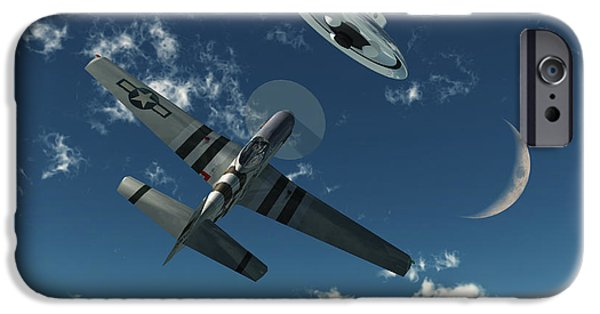 Paranormal Digital iPhone Cases - An American P-51 Mustang Gives Chase iPhone Case by Mark Stevenson