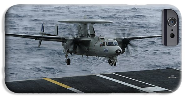 Electronic iPhone Cases - An E-2c Hawkeye Lands Aboard iPhone Case by Stocktrek Images
