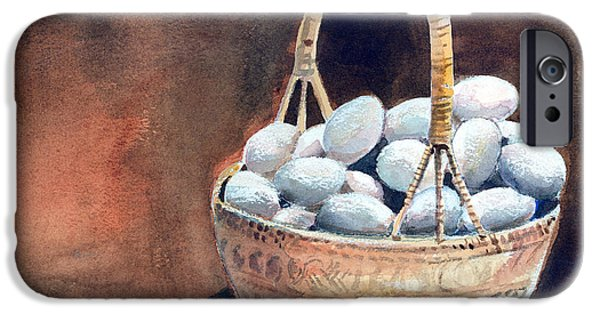 Basket Mixed Media iPhone Cases - An Egg Mishap iPhone Case by Arline Wagner